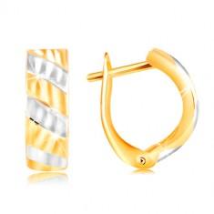 Šperky eshop - Náušnice v 14K zlate - šikmé pruhy zo žltého a bieleho zlata, ligotavé zárezy GG217.07