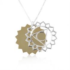 Strieborný náhrdelník 925, dvojfarebné vyrezávané slnko, ligotavé zárezy