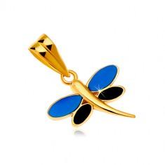 e86425112 Šperky eshop - Prívesok v žltom zlate 585 - vážka s glazúrou modrej a čiernej  farby
