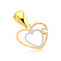 Prívesok z 9K zlata - jemný zdvojený obrys srdca, číry zirkónik