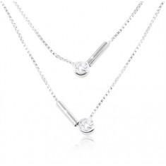 Strieborný 925 náhrdelník, dvojitá retiazka, okrúhle číre zirkóny a paličky