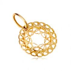 7dbb43be7 Šperky eshop - Prívesok zo žltého zlata 585 - kruh zo spojených drobných  srdiečok GG18.19