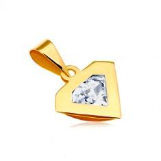 Prívesok v žltom 14K zlate - silueta diamantu, ligotavý číry zirkón