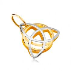 Dvojfarebný prívesok v 14K zlate - trojcípy keltský uzol s kruhom