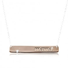 b860d2cc5 Šperky eshop - Náhrdelník zo striebra 925, známka medenej farby s nápisom  mama a zirkónom