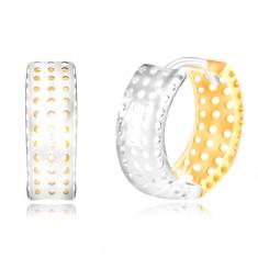 Zlaté 14K náušnice - krúžok zo žltého a bieleho zlata, dierky