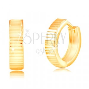 Okrúhle náušnice zo žltého 14K zlata - ligotavé vodorovné zárezy