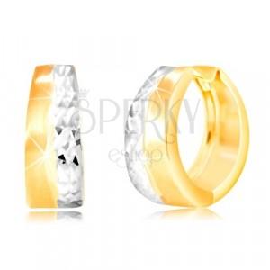 Okrúhle náušnice zo 14K zlata - matný pás žltej farby, brúsená línia z bieleho zlata