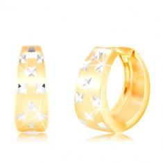 Náušnice v 14K zlate - matný rozšírený krúžok s drobnými zárezmi