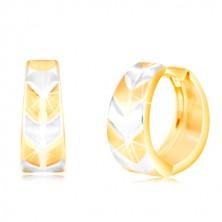 Okrúhle náušnice v 14K zlate - krúžok s matným dvojfarebným vzorom V