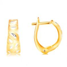 Zlaté 14K náušnice - matný oblúk s lesklými lístočkami z bieleho zlata
