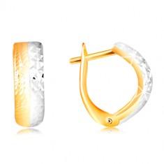 Šperky eshop - Náušnice zo 14K zlata - vypuklý gravírovaný oblúk v dvojfarebnom prevedení GG217.36