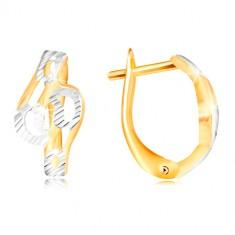 Šperky eshop - Zlaté náušnice 585 - lesklé zvlnené línie zdobené zárezmi a  bielym zlatom GG217.56 92f0644a7cb