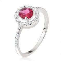 Strieborný prsteň 925 - okrúhly ružovočervený zirkón, číra obruba