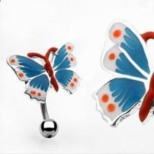 Piercing do pupku farebný motýľ