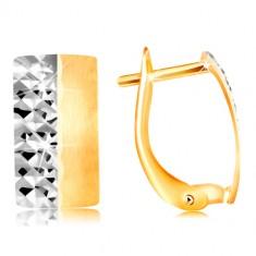 Zlaté náušnice 585 - matný pás so žltou matnou a bielou ligotavou polovicou