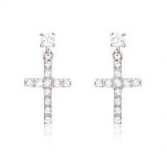 40eeb1a43 Šperky eshop - Náušnice z bieleho 14K zlata - malý latinský zirkónový kríž  GG12.03