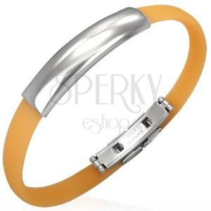Plochý gumený náramok - oranžový