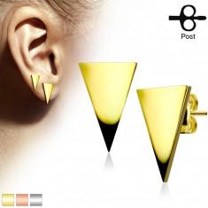 Šperky eshop - Puzetové náušnice z chirurgickej ocele, plochý trojuholník, lesklý hladký povrch S05.20 - Farba: Zlatá
