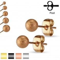 Šperky eshop - Náušnice z ocele 316L, ligotavé pieskované guličky, 3 mm S08.14 - Farba: Zlatá