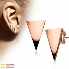 Šperky eshop - Náušnice z chirurgickej ocele, veľký lesklý trojuholník Z42.16 - Farba: Zlatá