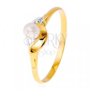 Diamantový prsteň zo 14K zlata, dvojfarebné vlnky, číry briliant a biela perla