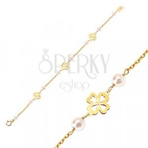 Náramok zo žltého 14K zlata - biele guľaté perličky a štvorlístky pre šťastie