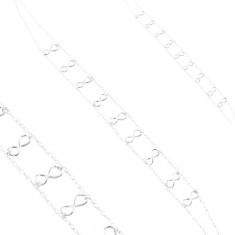 Strieborný 925 náhrdelník, dvojitá retiazka, lesklé symboly nekonečna