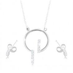 Šperky eshop - Sada zo striebra 925, náušnice a náhrdelník - obruč a číre zirkónové línie S09.17
