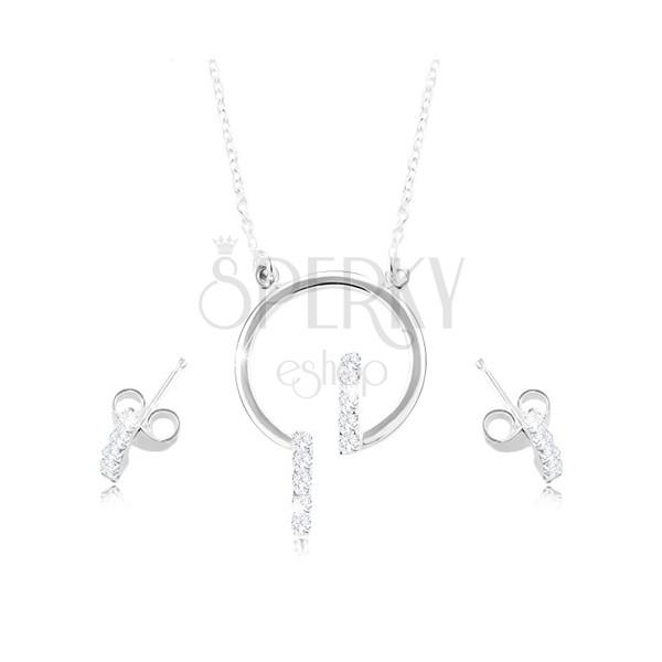 Sada zo striebra 925, náušnice a náhrdelník - obruč a číre zirkónové línie