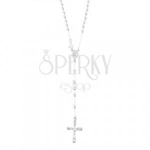 Ruženec zo striebra 925 - guličky, medailón Panny Márie, kríž s Ježišom