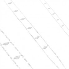 Strieborný náhrdelník 925, dvojitá retiazka, lesklé gravírované listy
