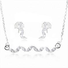 Strieborná sada 925, náušnice a náhrdelník - vlnka z čírych zirkónov
