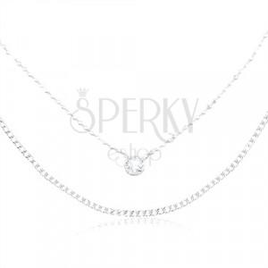 Strieborný náhrdelník 925, zdvojená retiazka, okrúhly zirkón čírej farby