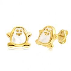 Šperky eshop - Náušnice zo žltého zlata 585 - tučniak s bielou perleťou, puzetky GG21.29