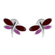 Náušnice z bieleho 14K zlata - vážka s bordovou a fialovou glazúrou na krídlach