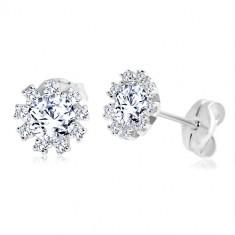 cea868ab3 Šperky eshop - Zlaté náušnice 585 - žiarivý kvietok z okrúhlych čírych  zirkónov, biele zlato