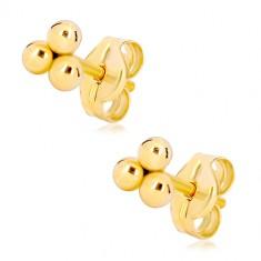 a90aa5ee8 Šperky eshop - Zlaté puzetové náušnice 585 - tri malé lesklé guľôčky GG20.22