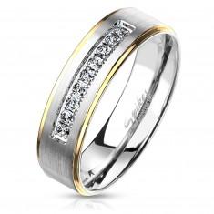 Dvojfarebný oceľový prsteň, strieborný a zlatý odtieň, číre zirkóny, 6 mm