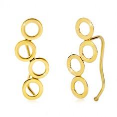 7ba00154c Šperky eshop - Náušnice v žltom 14K zlate, štyri lesklé spojené kruhy,  háčiky GG20