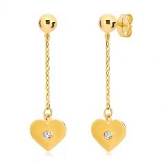 Šperky eshop - Náušnice v žltom 14K zlate - ploché srdce visiace na retiazke 243be604ed4