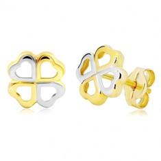 7b3c5a9b3 Šperky eshop - Zlaté náušnice 585 - štvorlístok pre šťastie z dvojfarebných  srdiečok GG20.23