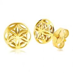 ace2a9034 Šperky eshop - Náušnice v žltom zlate 585 - lesklý vyrezávaný kvietok,  puzetky GG20.20