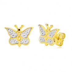 Šperky eshop - Zlaté náušnice 585 - motýlik zdobený bielym zlatom a bodkami GG20.32