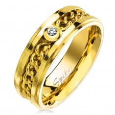 Prsteň z chirurgickej ocele zlatej farby s retiazkou a čírym zirkónom, 7 mm