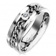 Oceľový prsteň v striebornom odtieni s retiazkou a čírym zirkónom, 7 mm