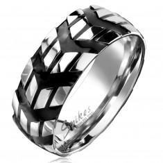 Prsteň z chirurgickej ocele so vzorom čiernych šípok, 8 mm