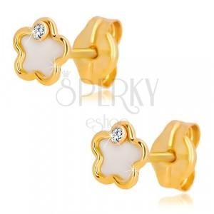 Náušnice zo 14K žltého zlata - kvet s prírodnou perleťou a zirkónom
