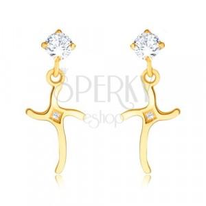 Briliantové náušnice zo žltého 14K zlata - zvlnený kríž zdobený diamantmi