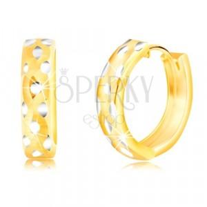 Okrúhle 14K náušnice z kombinovaného zlata, bodkované